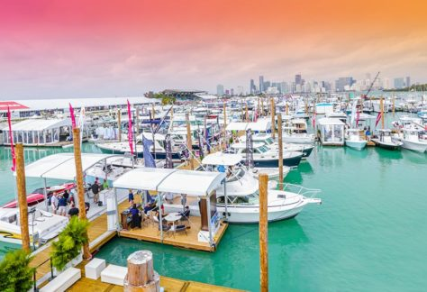 Miami International Boat Show with City of Miami in Background with Pink Sky