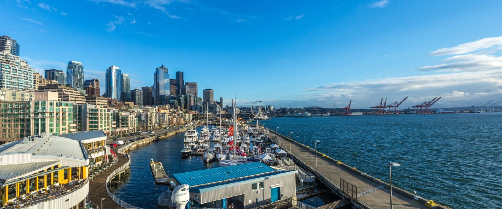 Outdoors Shot of Seattle Pier and Seattle Boat Show